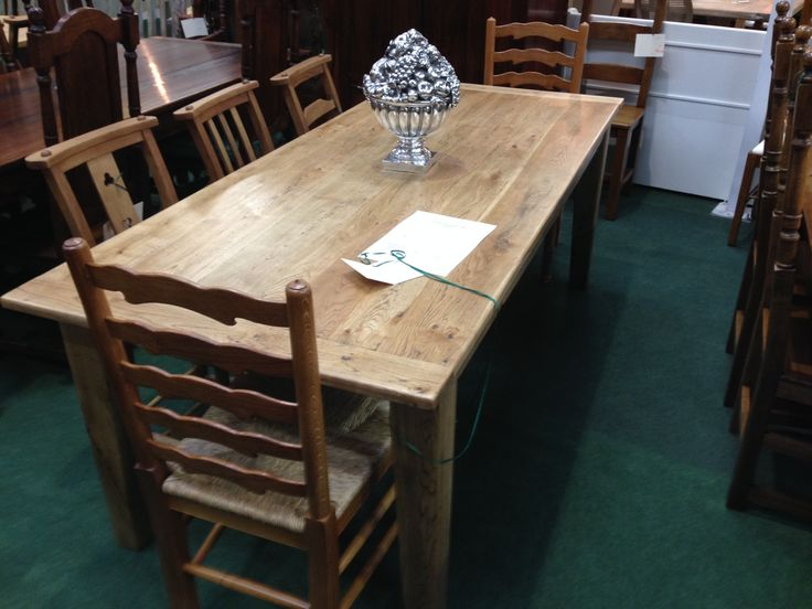 Oak dining table 7' £425 with 6 chapel chairs & 2 ladder back carvers.