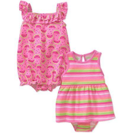 Freestyle Newborn Baby Girls' Dress with Bloomer and Romper 3-Piece Outfit Set, Newborn Girl's, Size: 6 - 9 Months, Multicolor