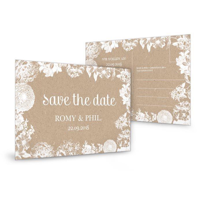 Save The Date Karten Selber Basteln : Blumige Save the Date Karte zur Hochzeit auf Kraftpapier