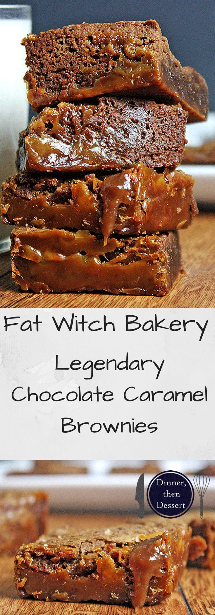 Fat Witch Bakery's Legendary Chocolate Caramel Brownies are soft, crisp, gooey, chocolate-y, chewy, decadent, rich, fudgy and cakey all in one bite.......