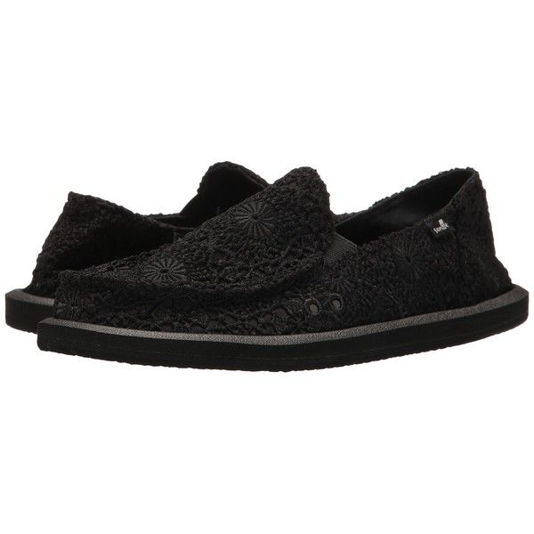Sanuk Donna Crochet (Black/Black) Women's Slip on  Shoes ($60) ❤ liked on Polyvore featuring shoes, black rubber shoes, pull on shoes, kohl shoes, sanuk shoes and crochet shoes