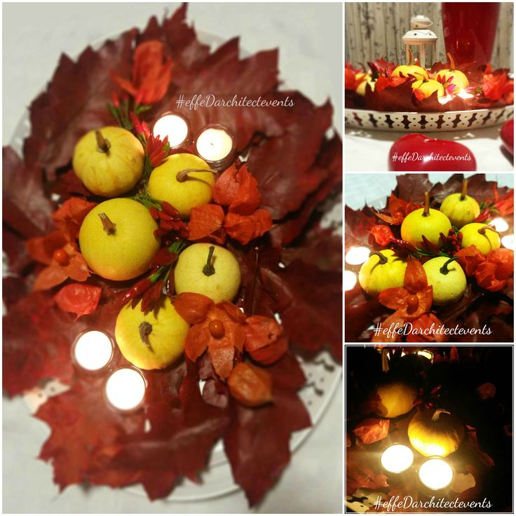 pumpkins centerpiece - centrotavola autunnale con zucche, foglie, peperoncino. designed by Daniela Fabiano_effeD architectevents