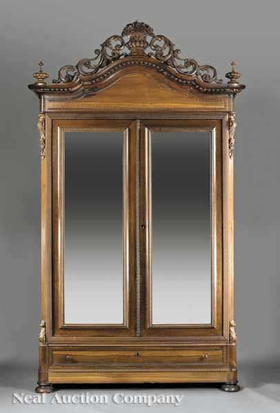 American Rococo Carved Rosewood Armoire mid 19th c New Orleans New Orleans  Antique Furniture. New - New Orleans Antique Furniture Education-photography.com