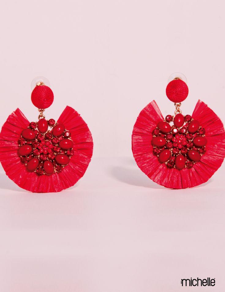 5190af437 Aretes rojos de Rafia con incrustaciones de Piedra | Bisuterías ...