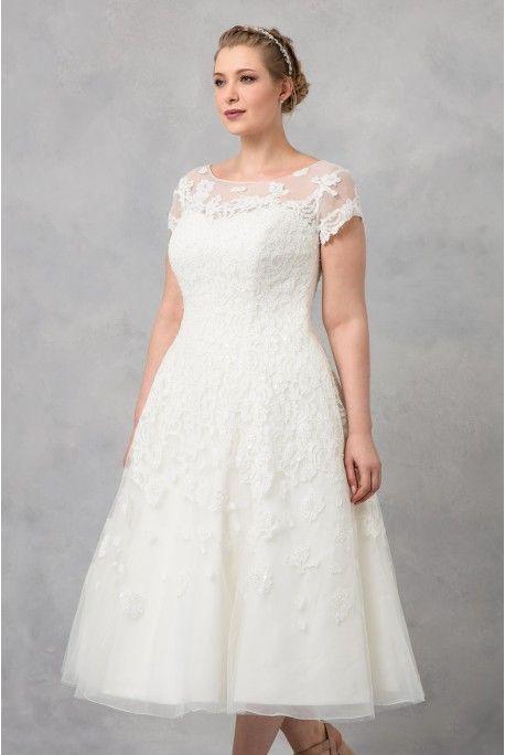 Oleg Cassini Cap Sleeve Tea Length Wedding Dress 8cmk513 In 2019