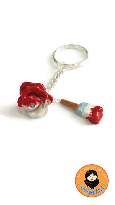 Alice in Wonderland Inspired, Rose Keychain, Red Roses, Red Rose Keychain, Paintbrush Necklace, Disney Inspired Acccessories, Cute Keychain