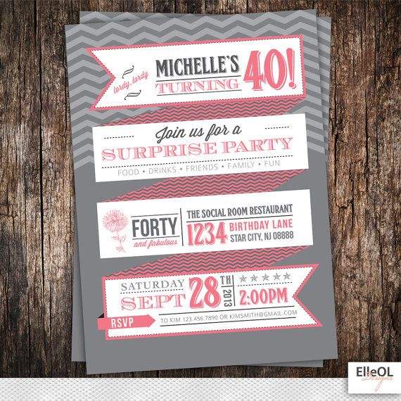 21st 30th 40th 50th 60th Surprise chevron Birthday Party by ElleOL, $16.00