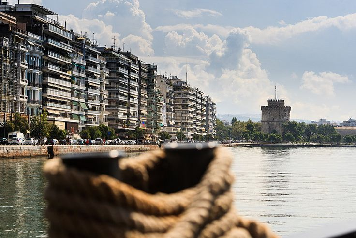 White Tower in Thessaloniki Greece as seen from the sea