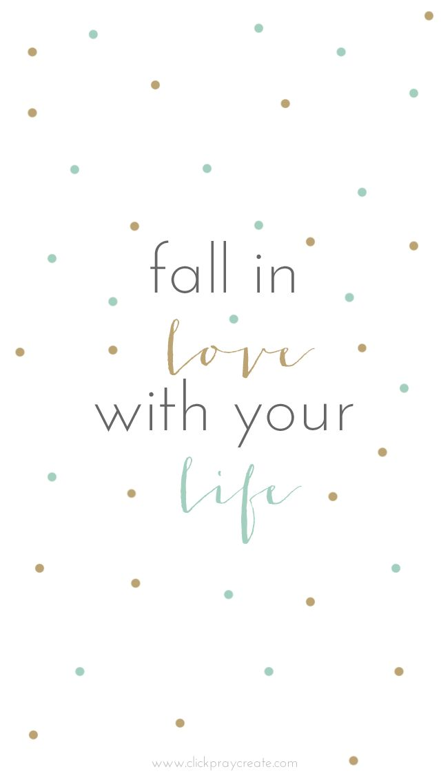 White mint gld Fall in Love Life confetti spots dots wallpaper background phone iphone lock screen