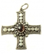 Stirling Silver Handcrafted Cross Pendant with Necklace- Amber semi precious stone  $42.00