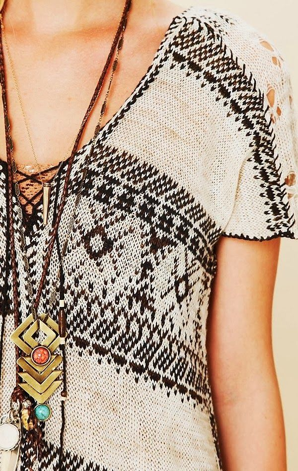 Crochet fringe detail sweater knit top