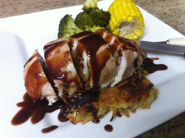 Risotto Stuffed Chicken Breast with a Chocolate & Chilli Infused Plum Glaze, Served on a Potato Rosti!  Get the instructions here: http://www.facebook.com/photo.php?fbid=343258602415710=a.140579589350280.35621.118018038273102=3