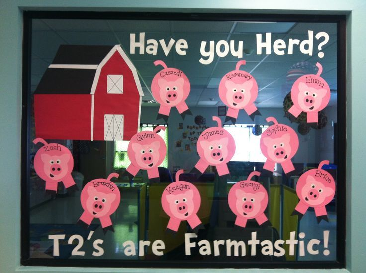 "farm themed preschool bulletin board - HAVE YOU ""HERD""? Use different farm animals for each class - chickens and pigs"