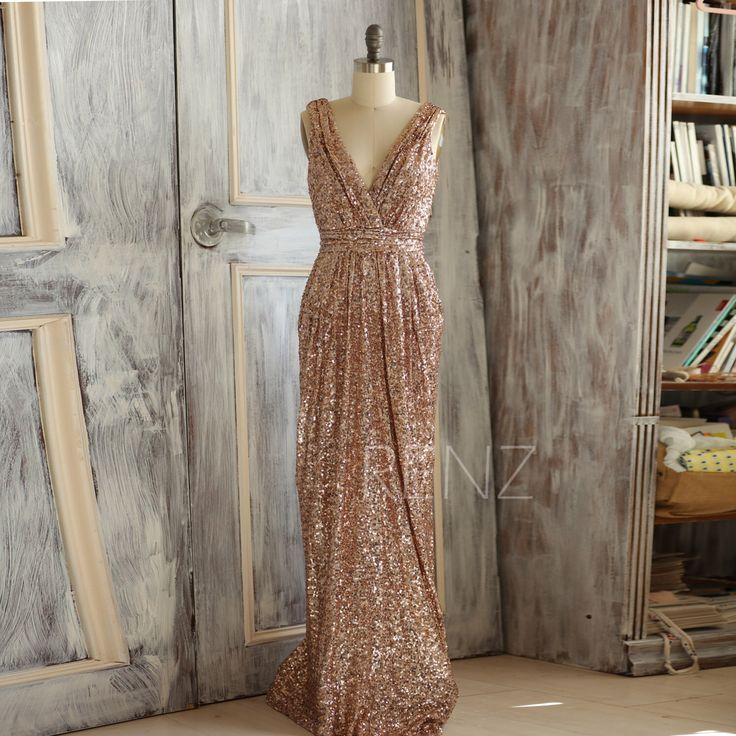 2015 Rose Gold Bridesmaid dress, Long Gold Sequin Wedding dress, Metallic Sparkle Evening dress, V neck back Luxury full length (TQ150C) by RenzRags on Etsy https://www.etsy.com/listing/255920936/2015-rose-gold-bridesmaid-dress-long