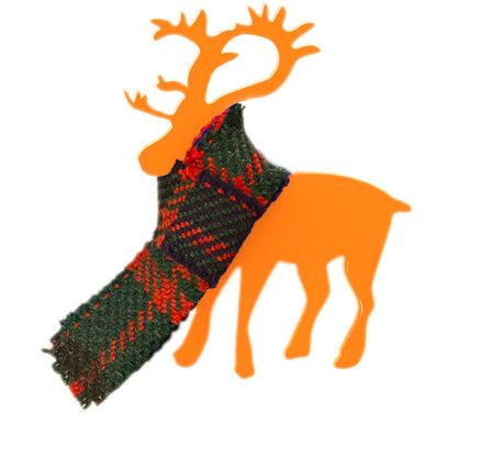 Deer Brooch in a Tartan scarf in Orange. Made in Finland by KIviMeri. #Reindeer #orange