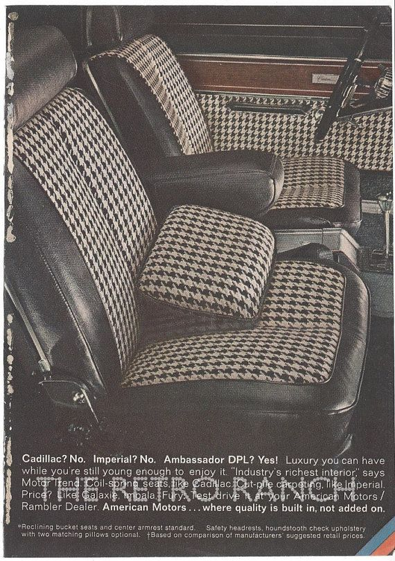 Ambassador DPL Advertisement Houndstooth Check Upholstery Modern And Swanky Car Vintage