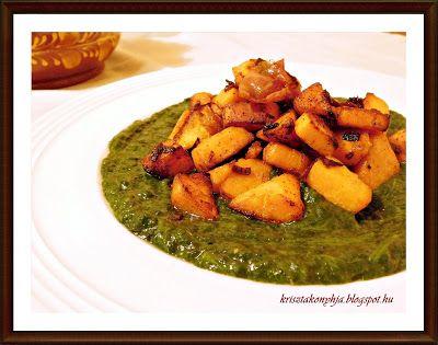 Kriszta konyhája- Sütni,főzni bárki tud!: Lilahagymával sült batata spenótágyon ( paleo )