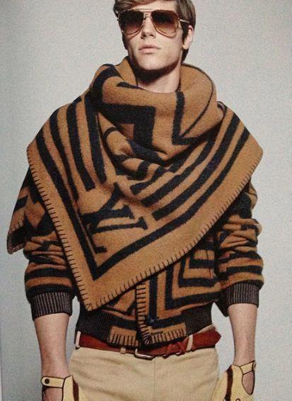 Caramel and Black Geometric LV Logo Bomber Inspired Cardigan Jacket & Scarf with Blanket Stitch Trim. Louis Vuitton, Men's Fall Winter Fashion.