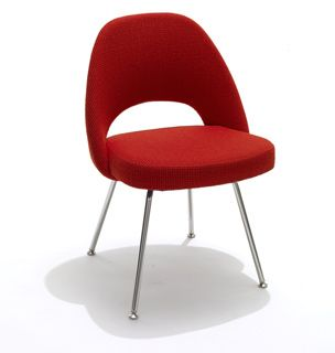 Saarinen Executive Side Chair With Metal Legs In Crimson/Red Fabric