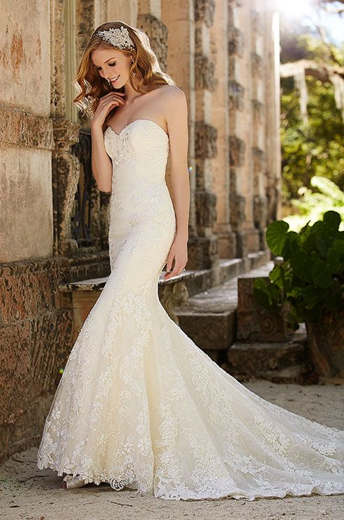 Strapless Mermaid Lace Wedding Dress Miami