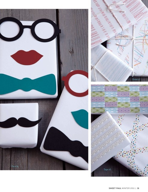 Wrapping paper.  I'm totally doing this to wrap presents for my friends baby boy.  The mustache is too cool.  DIY easy craft for decorating a gift.  Paper craft. Especially original idea for holidays.