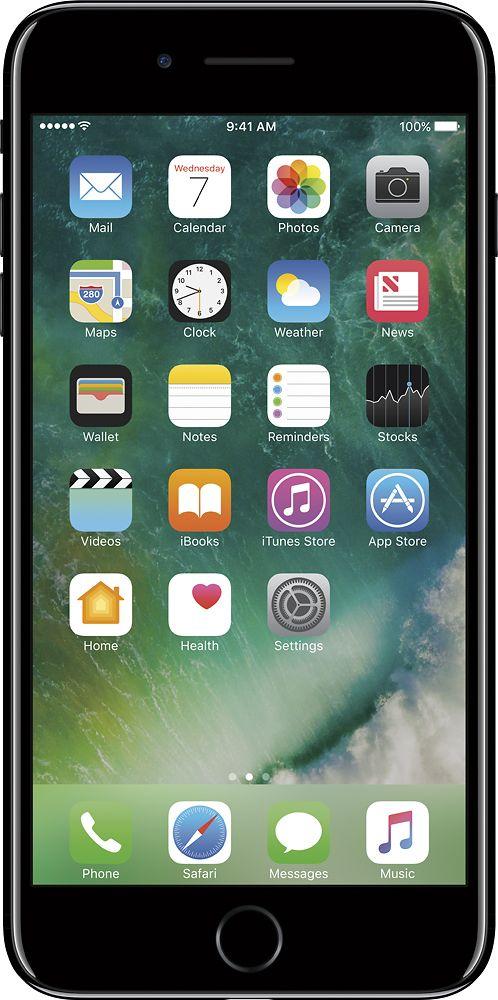 Apple - Geek Squad Certified Refurbished iPhone 7 Plus 128GB - Jet Black (Sprint)