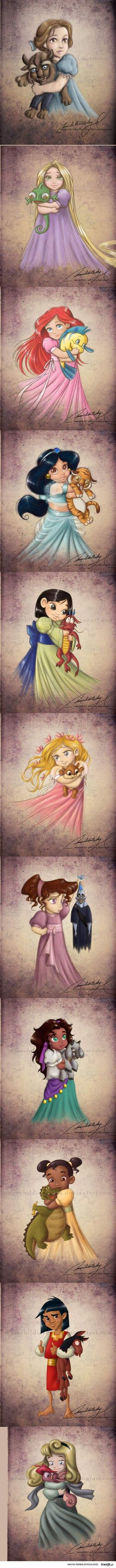 Disney Princesses with Their Favorite Stuffed Animals.