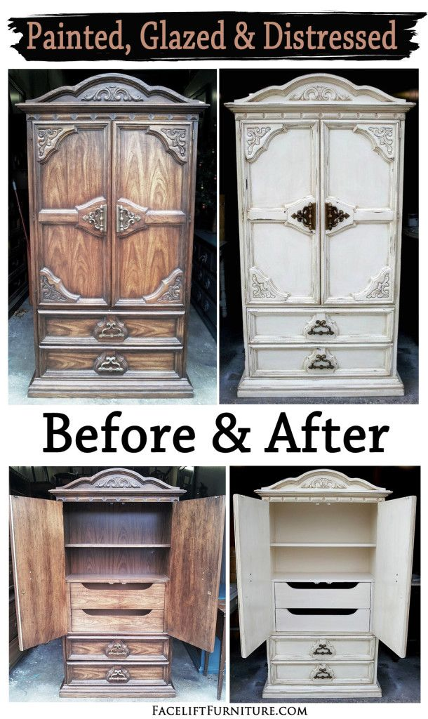 Off white chunky clothing armoire before & after, from Facelift Furniture's DIY Blog.