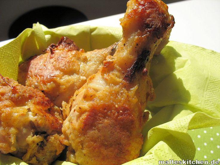 Gebackenes Huhn aus dem Ofen! mit leckeren Panade. Wird sehr knusprig, obwohl es ja nicht frittiert wird.