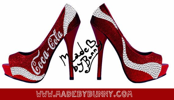 Coca  Cola Inspired Heels with Glitter and by MadeByBunny on Etsy, $120.00