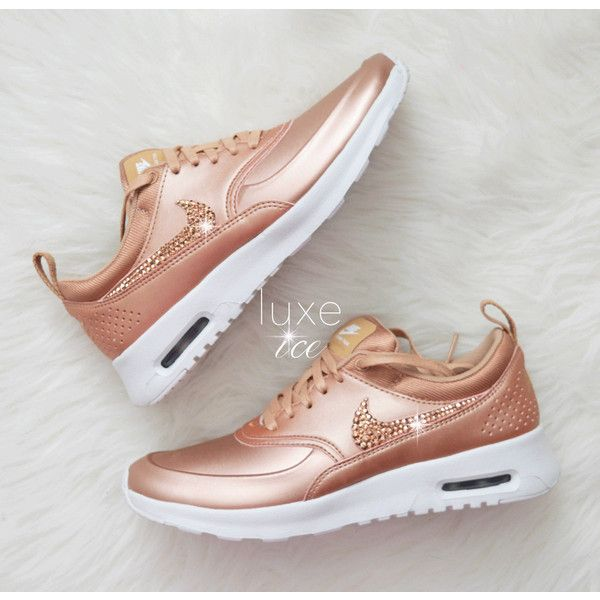 Limited Nike Air Max Thea Se With Swarovski Crystals Metallic Rose... ($220) ❤ liked on Polyvore featuring shoes, athletic shoes, silver, sneakers & athletic shoes, women's shoes, polish shoes, white shoes, rose gold metallic shoes, rose gold shoes and shiny shoes
