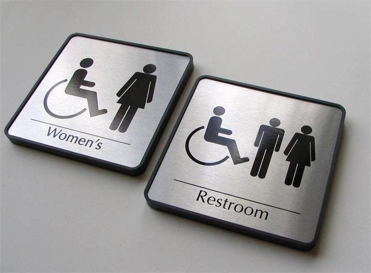 Personalized Office Door Bathroom Nameplate Signs, Handicapped, Wheel Chair  And Mens And Womens Bathroom Signs In Brushed Metal Plates.