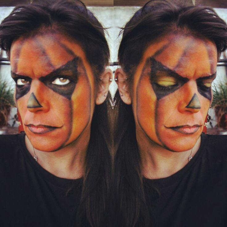 Jack-O'-Lantern Halloween makeup. Carved Pumpkin inspired.
