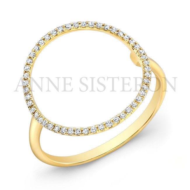 14KT Yellow Gold Diamond Open Circle Diamond Ring