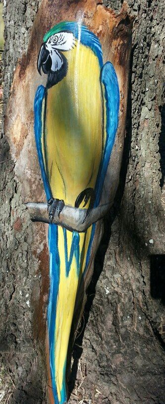 Handed Painted palm frond Parrot by Seanaconda
