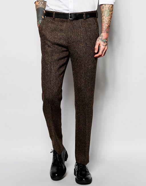 Asos brown Harris tweed trousers