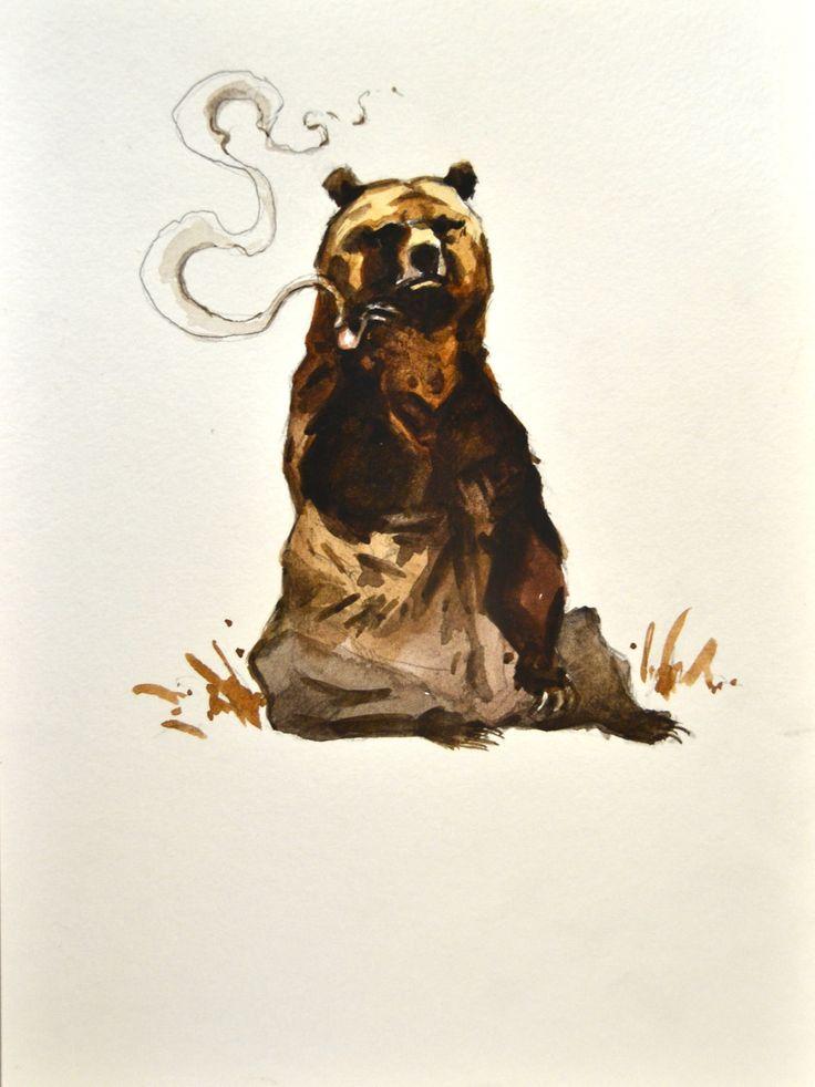 Smoking Bear Painting Watercolor Original 7x9 by ...