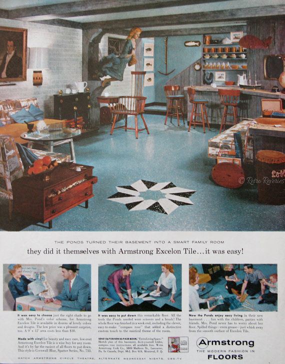 1958 Armstrong Excelon Tile Floors Ad Finished Basement