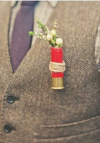 Country Wedding Boutiniere.. I probably would not do this, but it's a cute idea :)