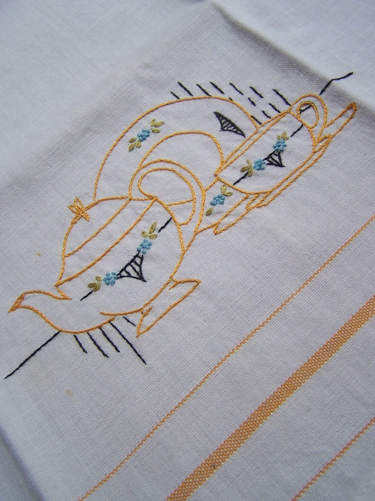 Kitchen show towel hand teapot embroidery