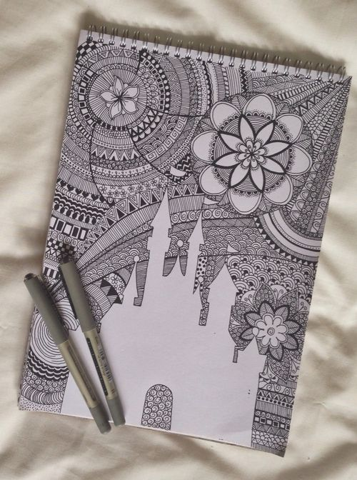 Awesome drawing Capture of the Castle and surrounded by Zentangle patterens.