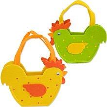Petits paniers en feutrine 'poule', jaune/vert