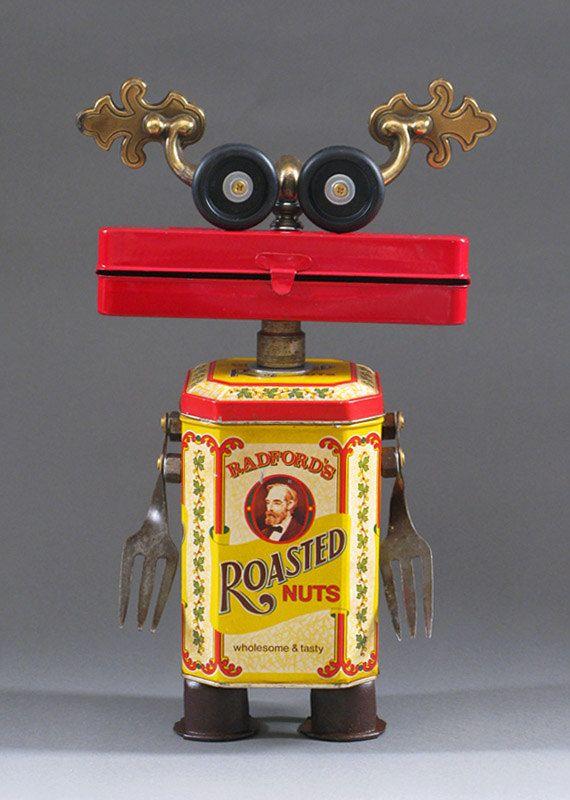 ROBOT SCULPTURE  Metal art sculpture Junk by CastOfCharacters23, $155.00