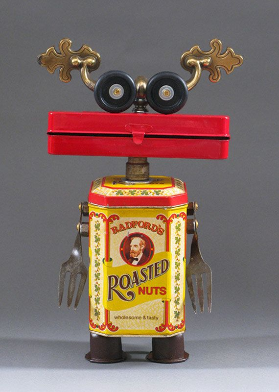 ROBOT SCULPTURE  Metal art sculpture Junk by CastOfCharacters23, $155.00