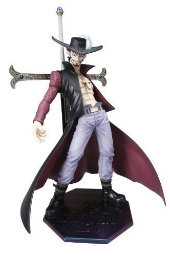 """Portrait.Of.Pirates : One Piece NEO DX Mihawk by MEGA HOUSE. $190.00. From 15 age. 235 mm. Standing in a relaxed and hips out pose, is Juracule Mihawk, master swordsman. He comes with his sword, a tiny dagger, and changeable hand as accessories. He is approximately 9"""" tall. He clothes aren't flamboyant, but they are styling. Especially that hat. A member of the all-powerful Shichibukai and the world's strongest swordsman in """"One Piece,"""" the legendary Dracule """"Hawk-Eyes"""" Miha..."""