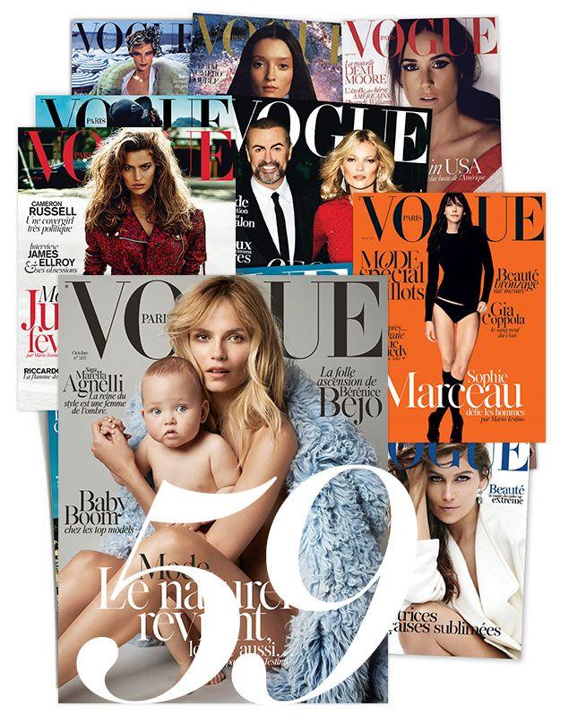 Le 29 octobre dernier, Mario Testino avait convié ses amis de toujours au Chiltern Firehouse de Londres, Kate Moss ou Naomi Campbell, à célébrer ses 60 ans lors d'une soirée au charme rétro. 30 ans de métier, 59 couvertures et plus de 1000 clichés publiés... L'occasion de revenir en images sur les plus belles couvertures de Vogue Paris signées par le photographe péruvien, complice du magazine depuis 1995.