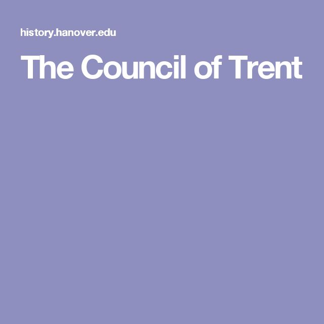 The Council of Trent
