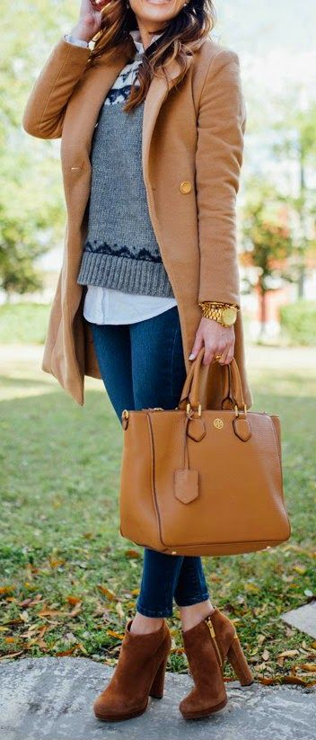 FEBRUARY FAIR ISLE - Button-Up Tunic, Fair Isle Sweater, Skinny Stretch Jeans, Slim Camel Coat, Robinson Square Tote / Sequins and Things