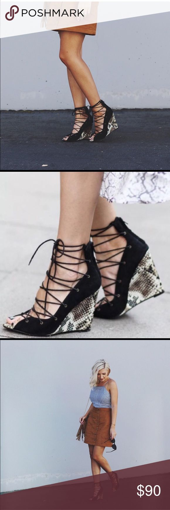 Zara Wedge •Zara lace up wedges •Black Lace up paired with snake print wedge •Sold out, no longer available •Images from Google. Last picture are of actual pair for sale.     🚫No trades  📦All orders shipped within 24hrs (business day) Zara Shoes Wedges