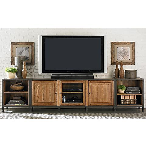 Love the rustic look to this...and it has tons of shelves, which we need for the receiver, record player, cable box, blu ray player, and center speaker.